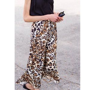 & Other Stories Leopard Print Midi Skirt Size 0